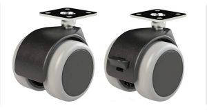 4 X Mprofi MT® Universal Lenkrollen für Möbel Doppelrollen Möbelrollen Gummirollen Laufrollen Bodenschutz Rollen Ø50mm